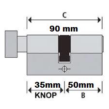 S2skg**s6 Knopcilinder 90 mm knop35-55 3 sleutels
