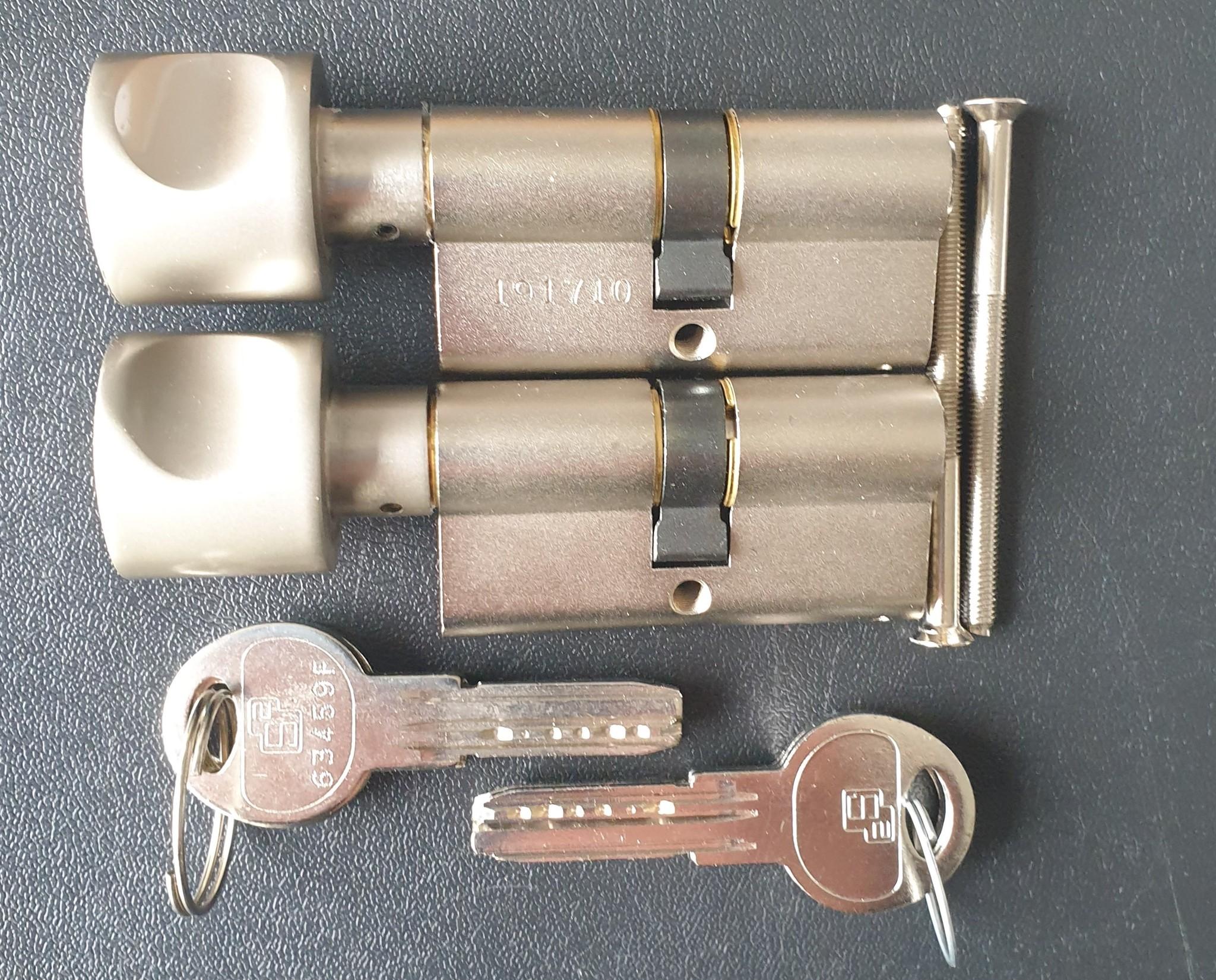 S2skg**F6 2 gelijksluitende knopcilinders 60 mm 6 veilige keersleutels