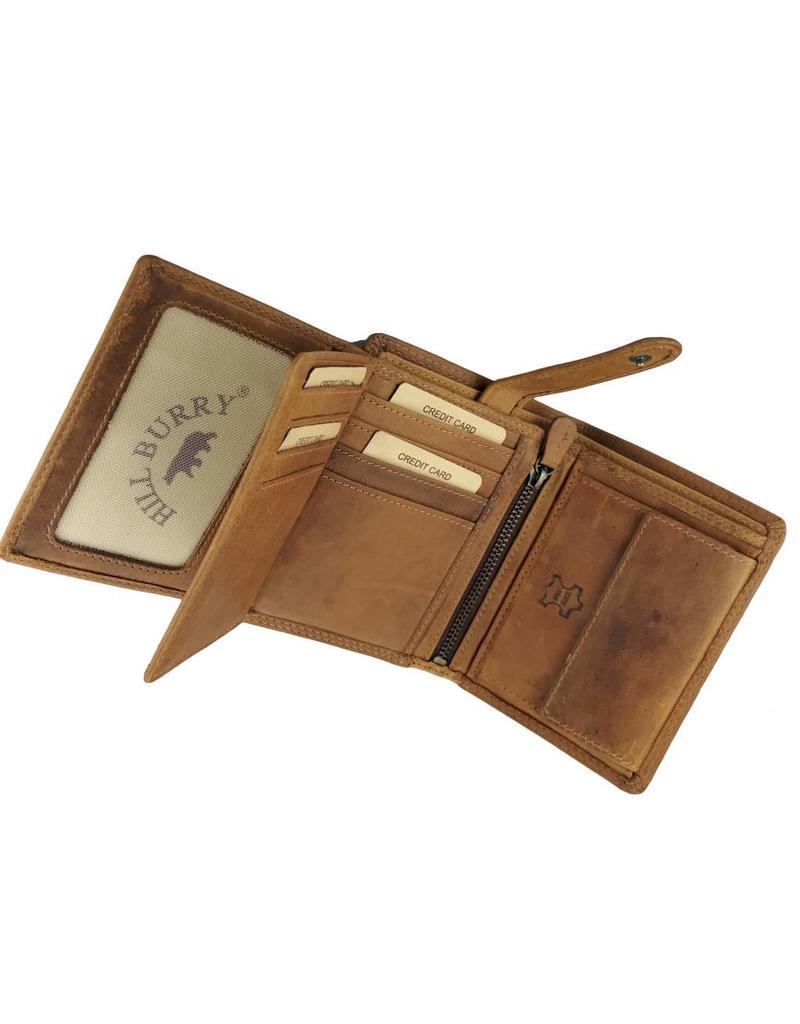 Hill Burry Herren Geldbörse Geöltes Rindleder Viele Kreditkartenfächer Cognac Hochformat
