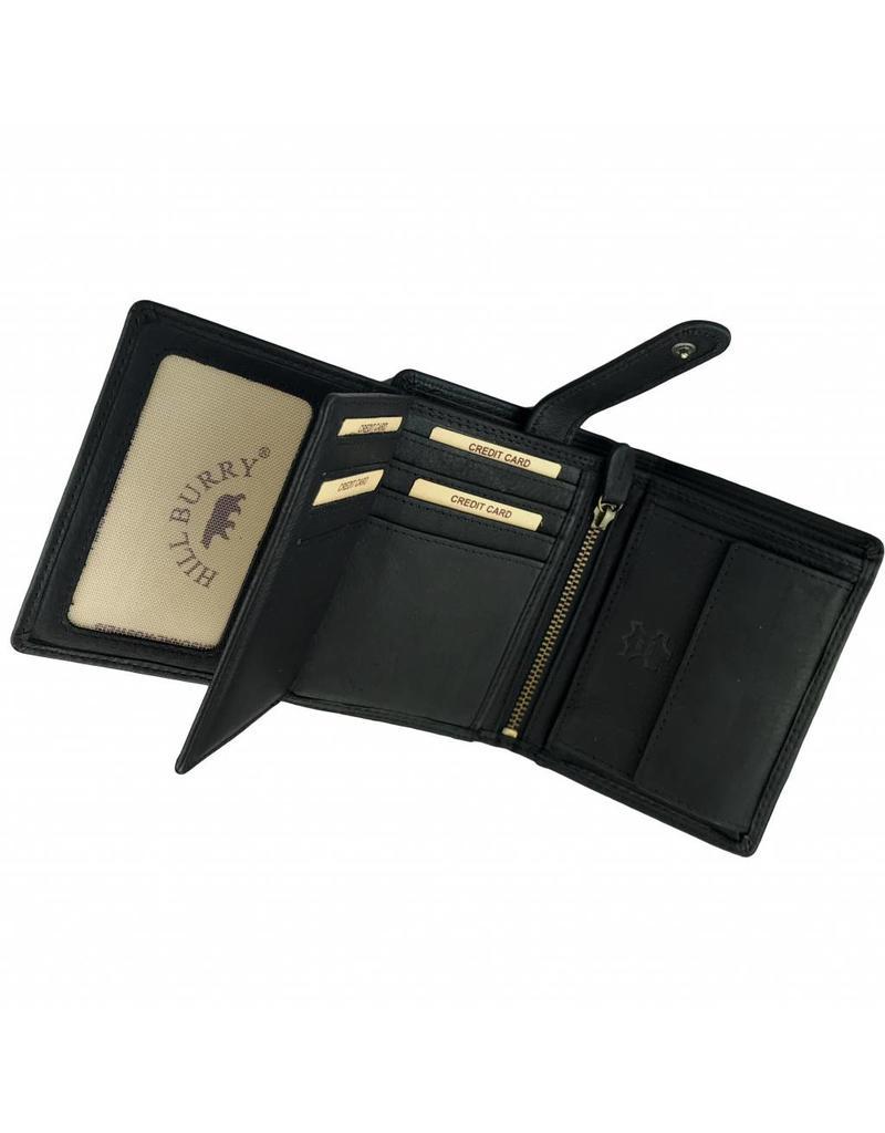 Hill Burry Herren Geldbörse Geöltes Rindleder Viele Kreditkartenfächer Schwarz Hochformat