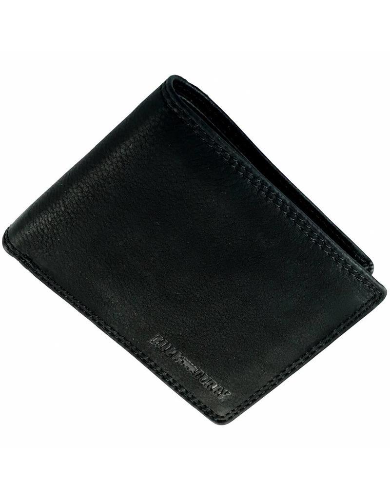 Hill Burry Herren Geldbörse Geöltes Rindleder Viele Kreditkartenfächer Schwarz