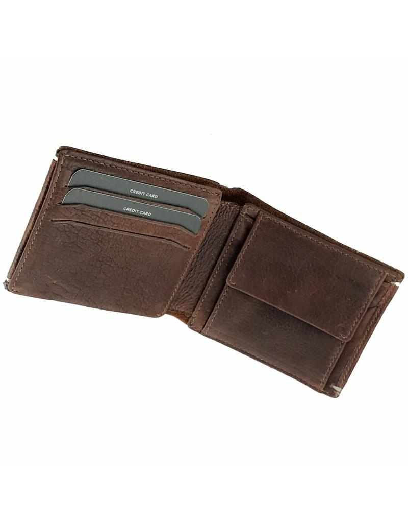 Portemonnee Heren Bruin.Heren Portemonnee Vintage Met Kepje Bruin Barneys Leather