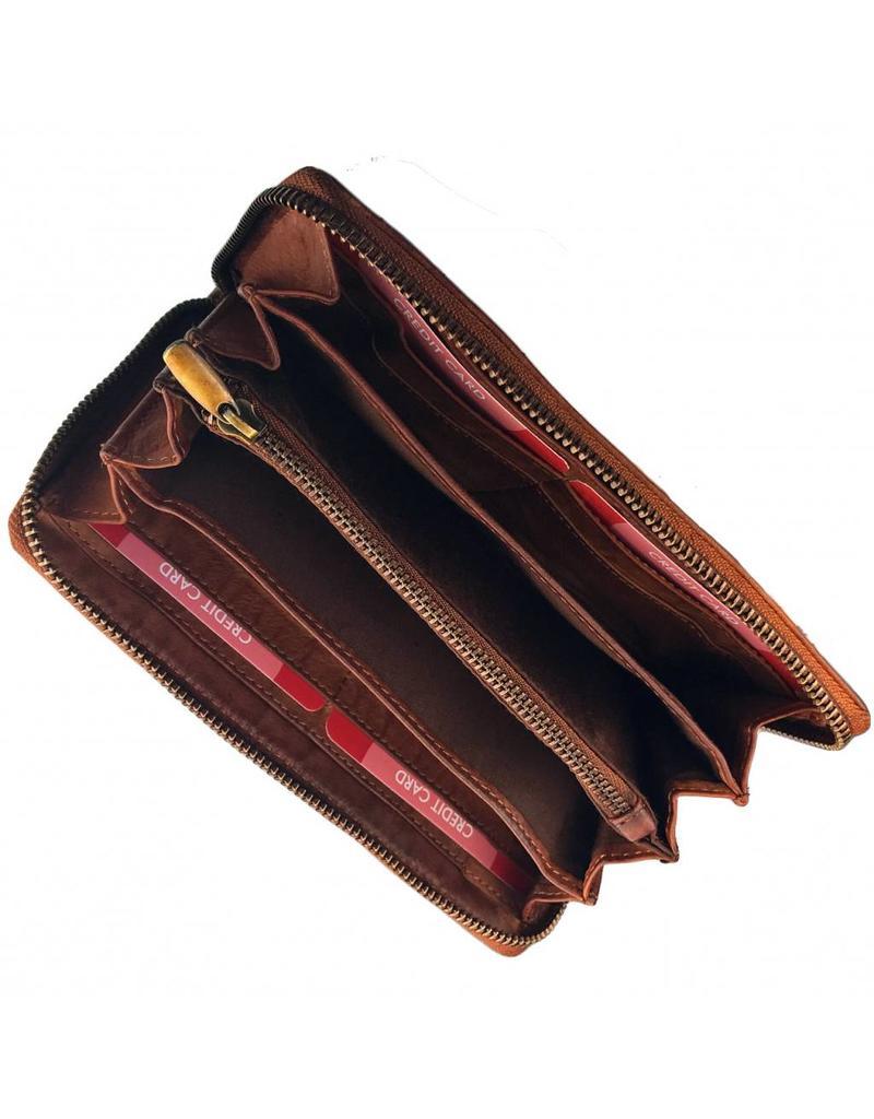 Damen Geldbörse mit Reißverschluss Rundum Cognac