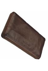 Damen Geldbörse mit Rundum-Reißverschluss Braun
