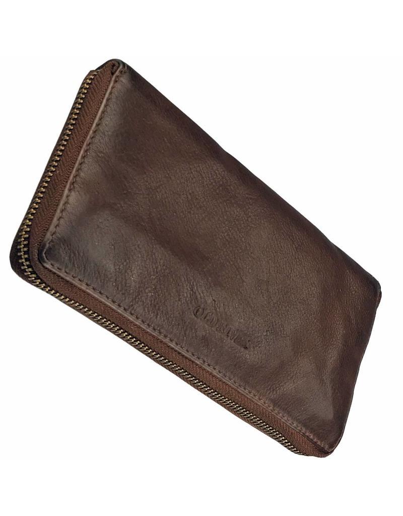 98299d2b7cc Dames Portemonnee Met Rits Rondom Bruin - Barneys Leather