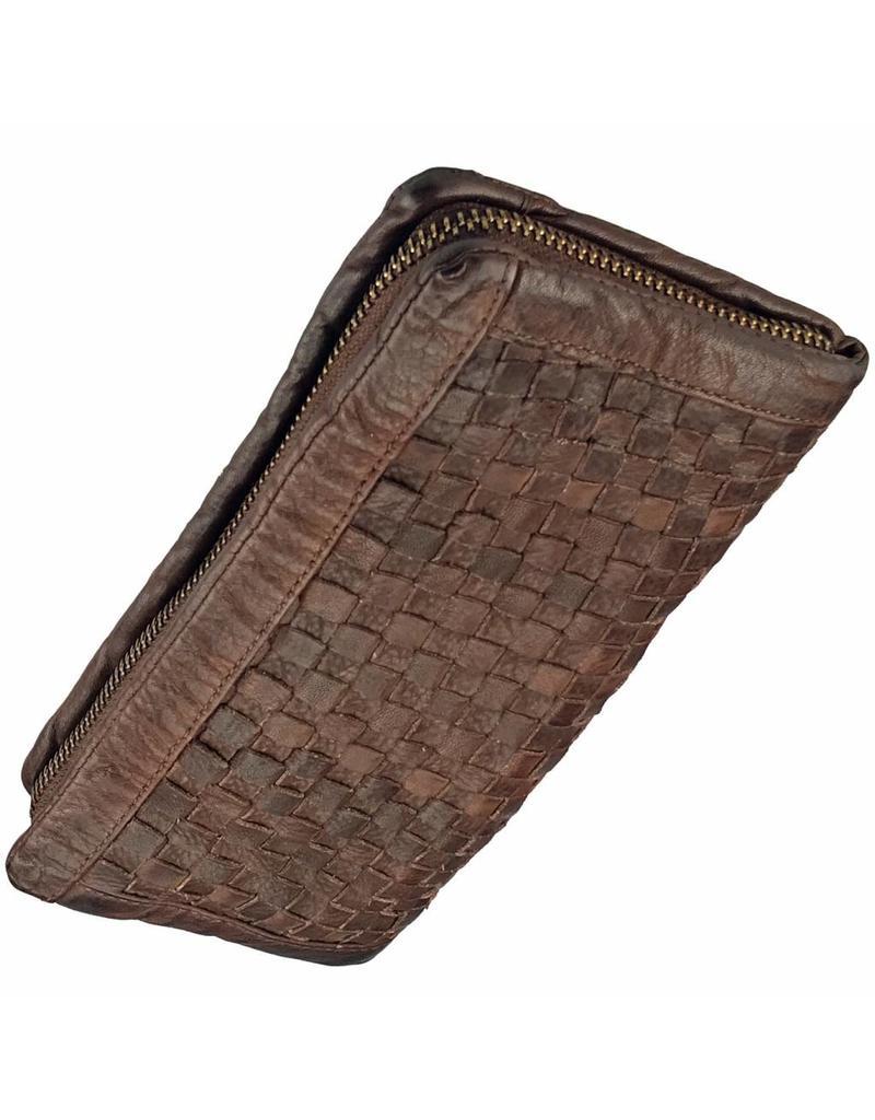 Geflochten Damen Geldbörse mit Rundum-Reißverschluss Braun