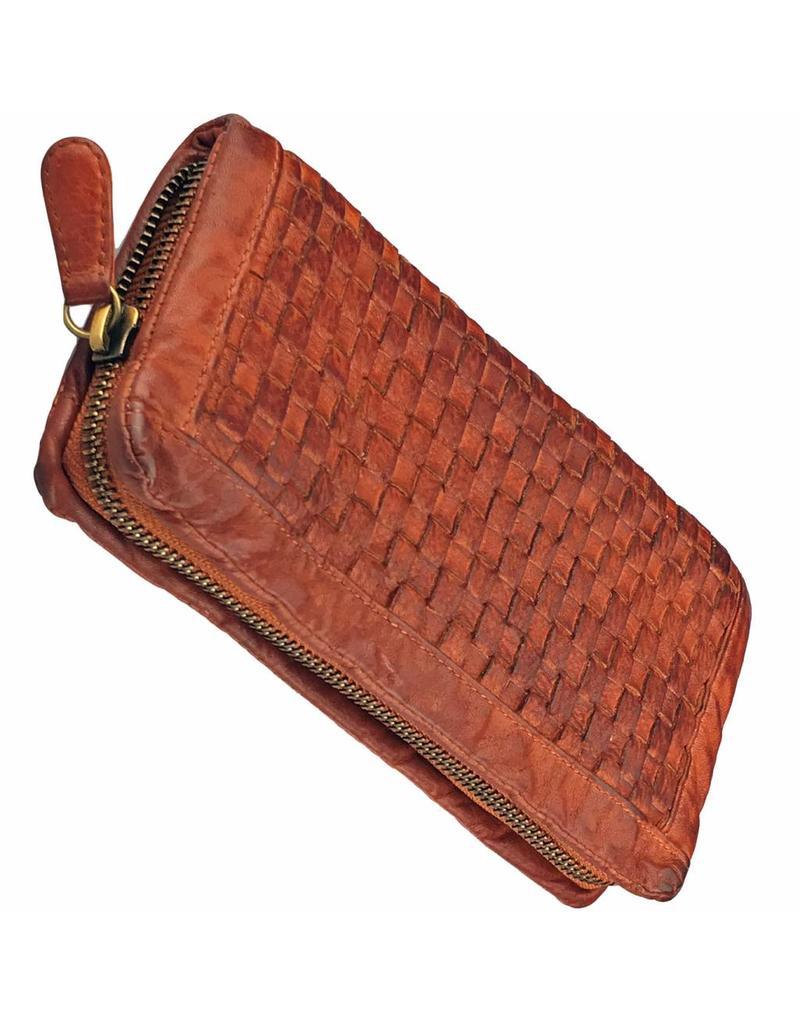 Geflochten Damen Geldbörse mit Rundum-Reißverschluss Cognac