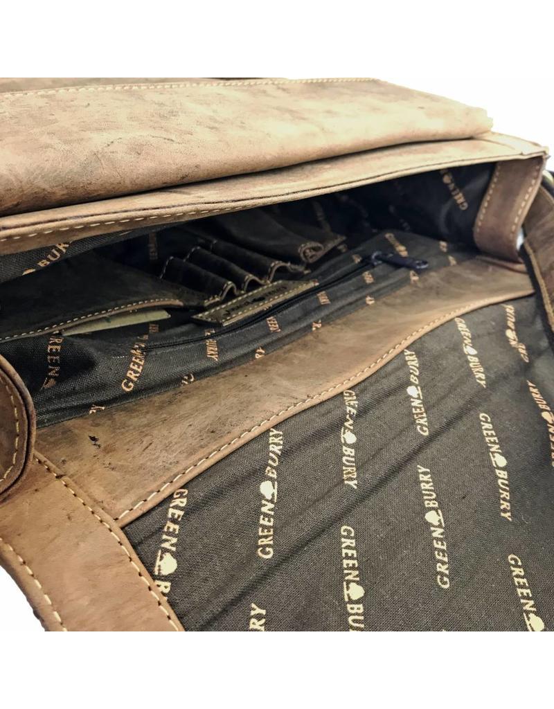 Greenburry Handgemaakte Rundleren Dames Heren A4 Schoudertas Messenger Bag