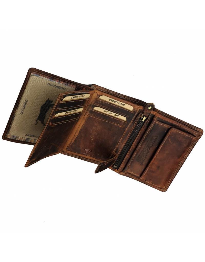 Heren RFID Portemonnee Pull-Up Leer Hoog Model