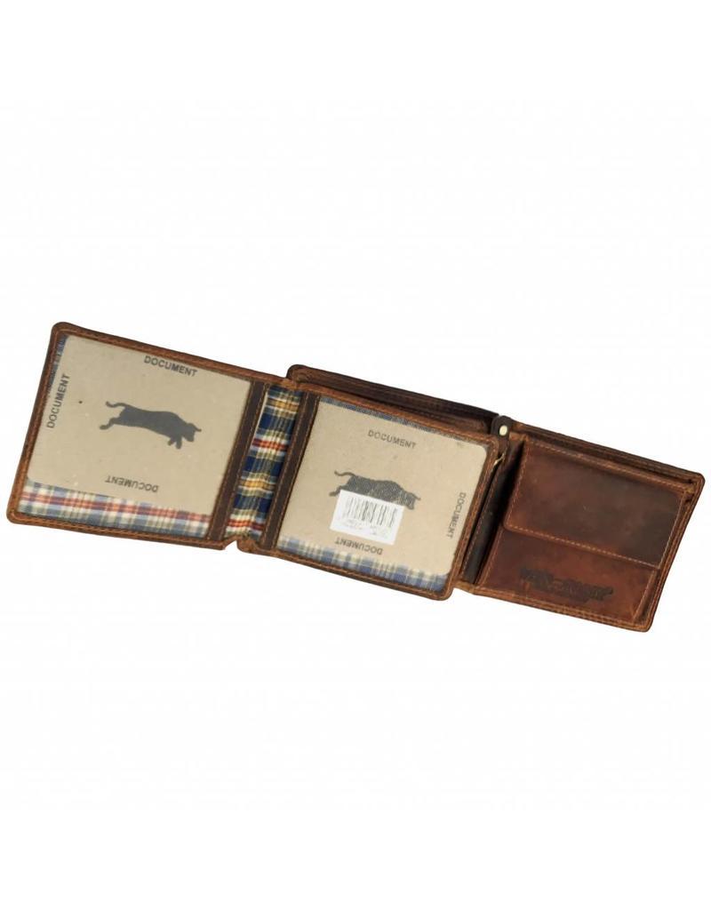Heren RFID Portemonnee Pull-Up Leer Laag Model