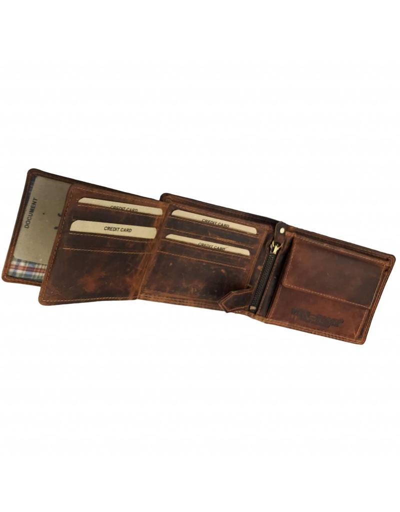 Herren RFID Geldbörse Pull-Up Leder Querformat