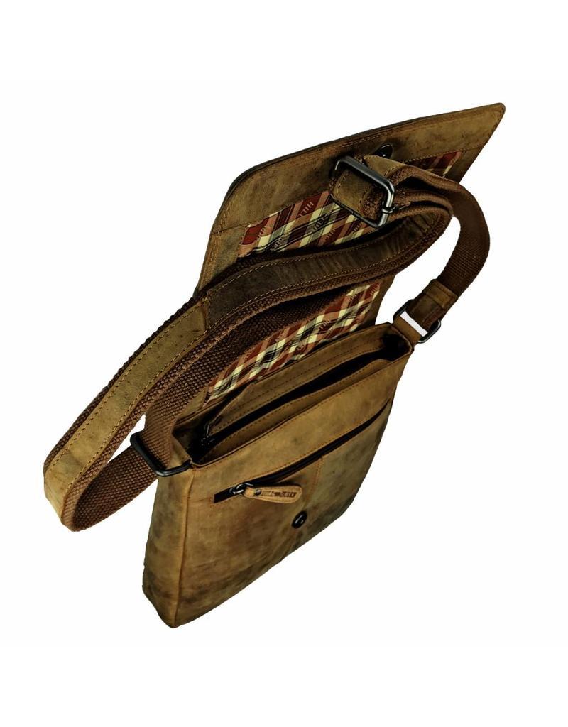 Hill Burry Vintage Leren Heren Dames Schoudertas Overslag Hoog Model Bruin