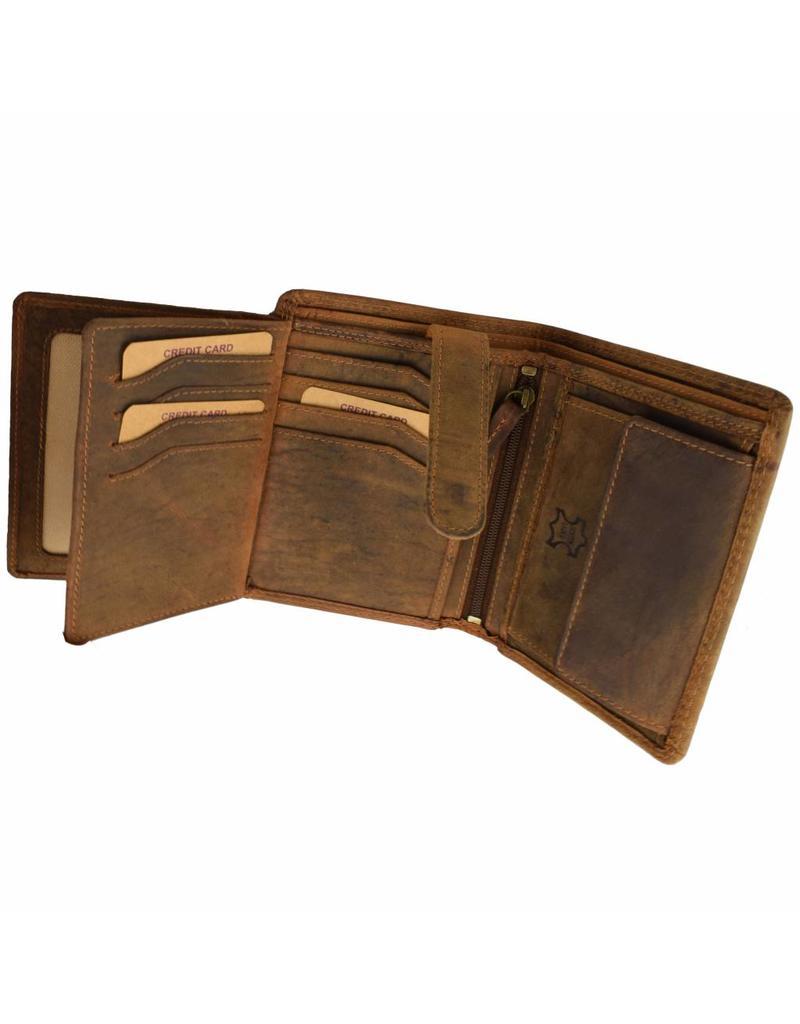 Hill Burry Herren Geldbörse Geöltes Rindleder Viele Kreditkartenfächer Hochformat