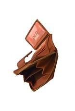 Kleine Damen Geldbörse Washed Leather Cognac