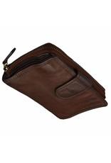 Grosse Damen Geldbörse Washed Leather Braun