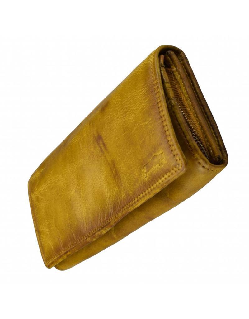 Washed Leather Damen Geldbörse  Ockergelb