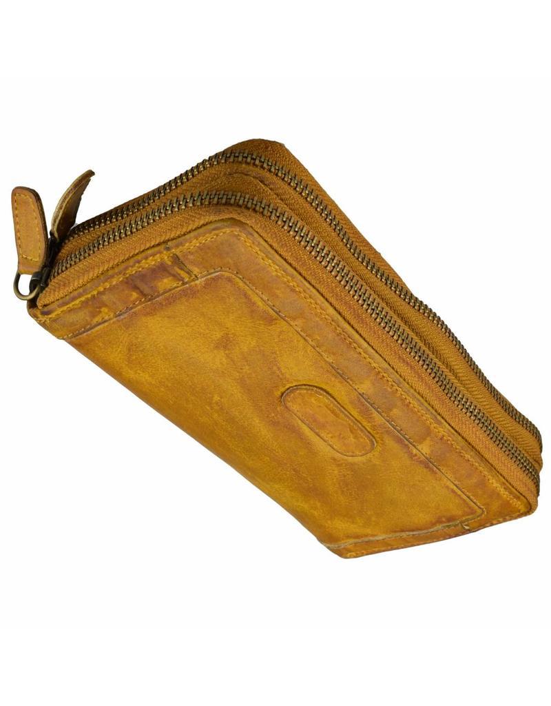 Grosse Damen Geldbörse Washed Leather Ockergelb