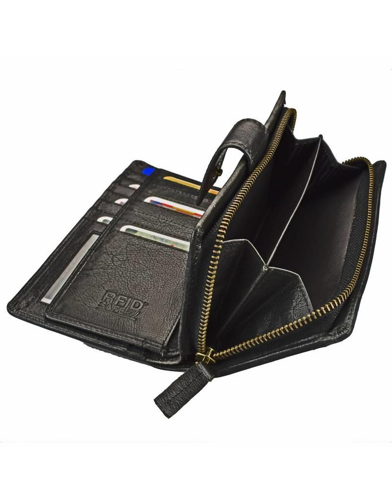 GAZ Luxe Leren Dames Rits Portemonnee Extreem Veel Pasjes RFID Protected Zwart