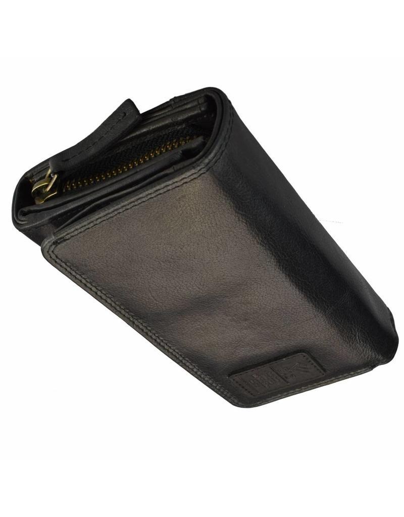 GAZ Luxe Lederen Dames Portemonnee Veel Pasjes RFID Protected Zwart