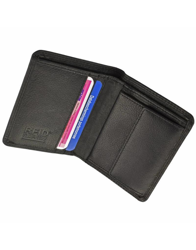 GAZ Kleine Heren Portemonnee Zwart Hoog Formaat RFID