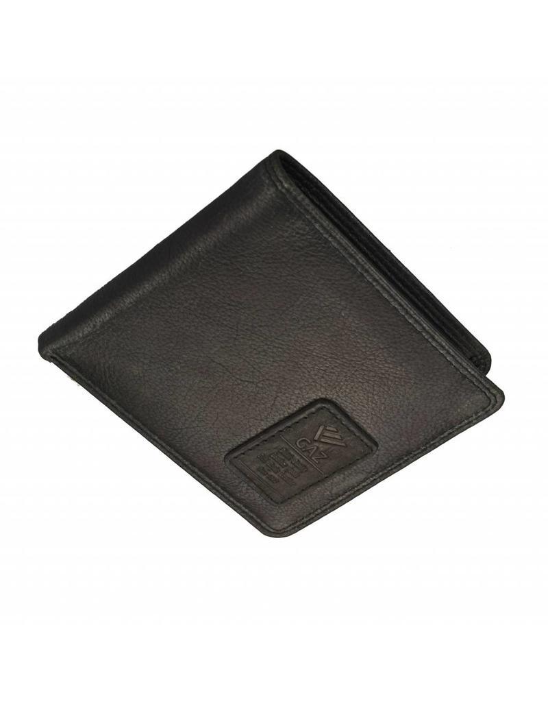 GAZ Kleine Flache Herren Portemonnaie Schwarz Querformat  RFID