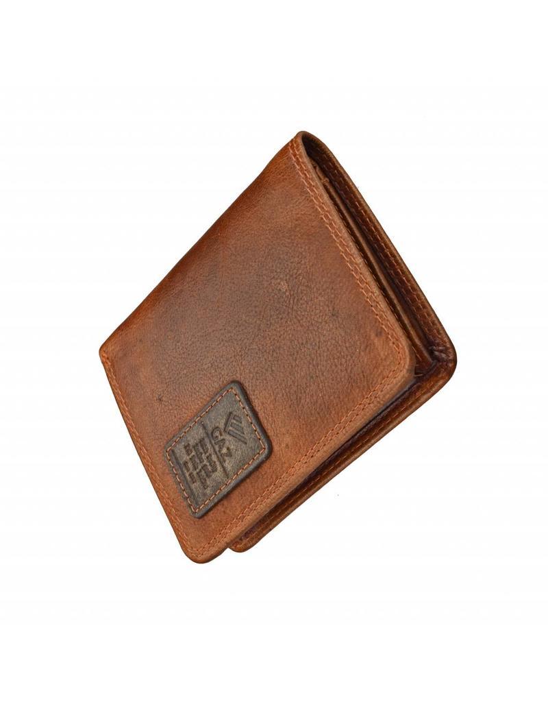 GAZ Compacte Heren Portemonnee Cognac Hoog Formaat RFID