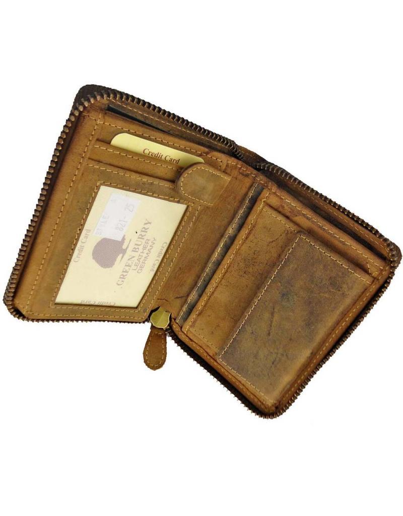 f946b93ea6933 Greenburry Luxus Leder Damen Herren Portemonnaie Umlaufender Reißverschluss  Zip Around Wallet ...