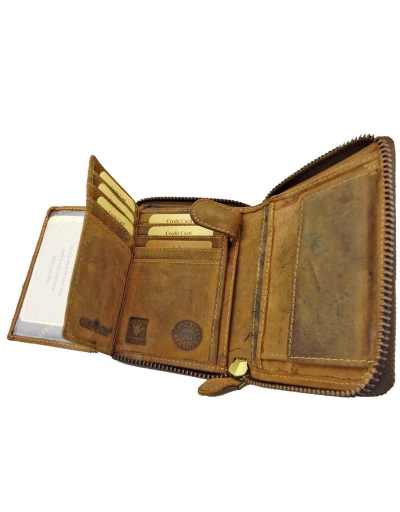 Greenburry Luxus Leder Damen Herren Portemonnaie Umlaufender Reißverschluss Zip Around Wallet