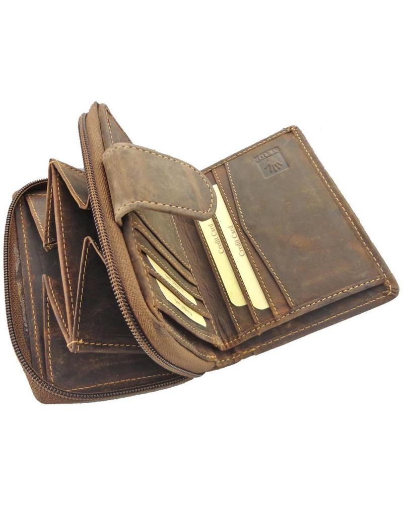 Greenburry Luxus Leder Geldbörse Mit Reißverschluss Portemonnaie