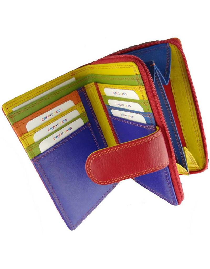 3e525b6bbe3 Burkely Rits Portemonnee Multicolor Rood - Barneys Leather