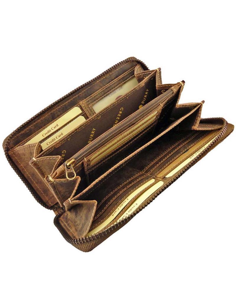 Greenburry Handgefertigte Luxus Leder Damen Reißverschluss Portemonnaie Geldbörse