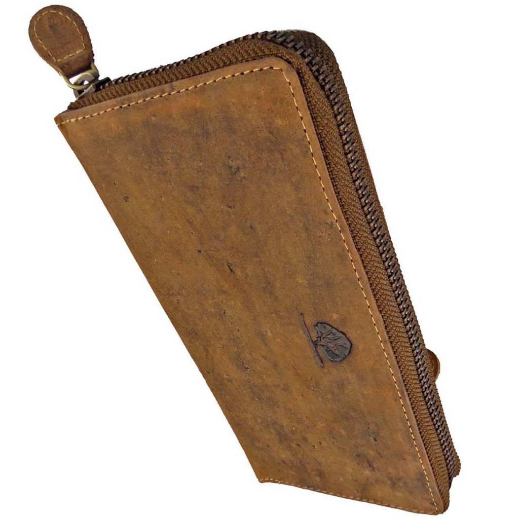 48b5cacf33f Greenburry Handgemaakte Luxe Leren Dames Rits Portemonnee - Barneys Leather