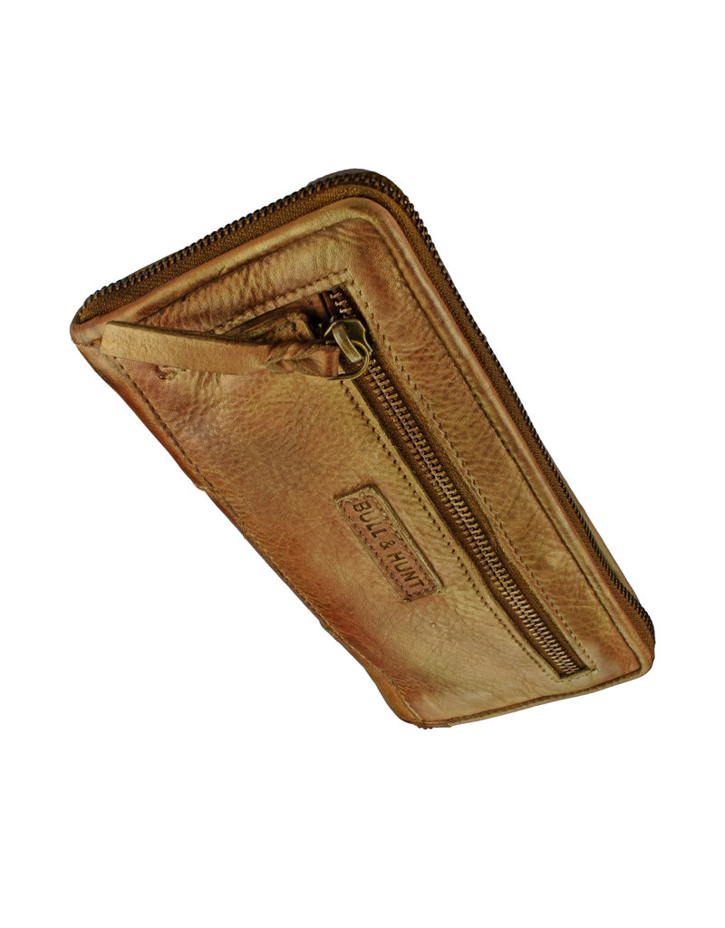 Bull & Hunt Weiches Damen Geldbörse mit Reißverschluss Rundum Vintage Gold