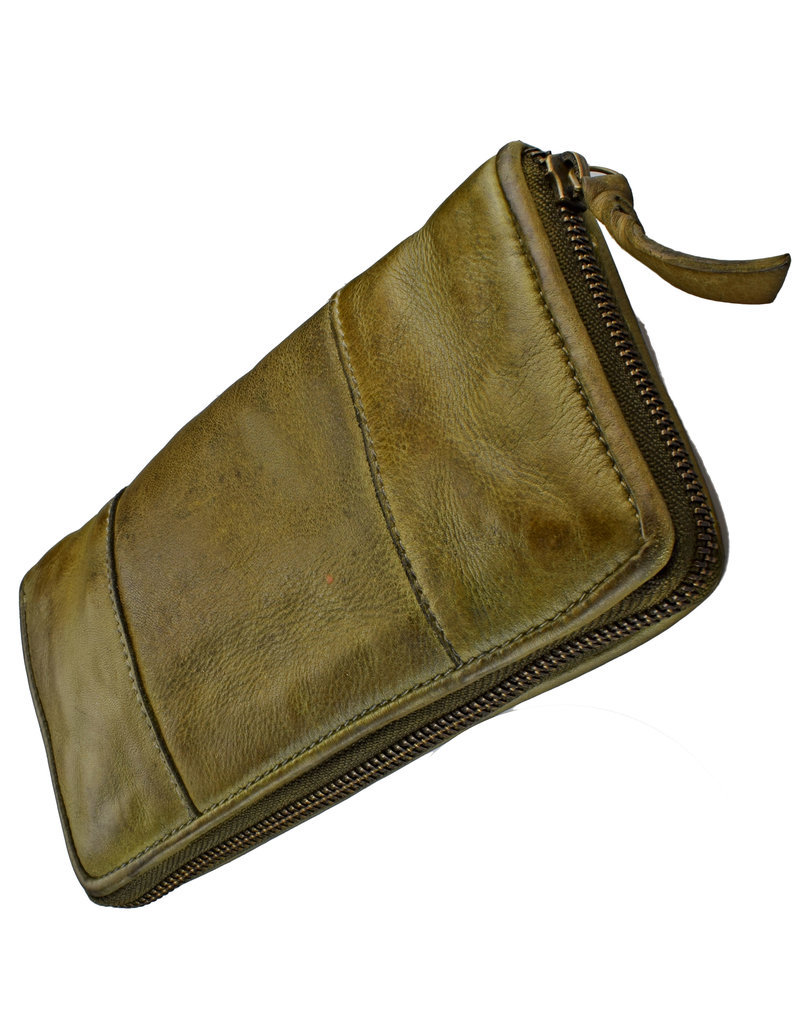 Bull & Hunt Weiches Damen Geldbörse mit Reißverschluss Rundum Vintage Grun