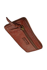 Bull & Hunt Geflochtenes Damen Geldbörse mit Reißverschluss Rundum Vintage Cognac