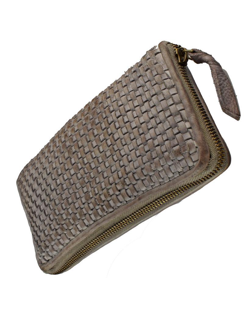 Bull & Hunt Geflochtenes Damen Geldbörse mit Reißverschluss Rundum Vintage Grau