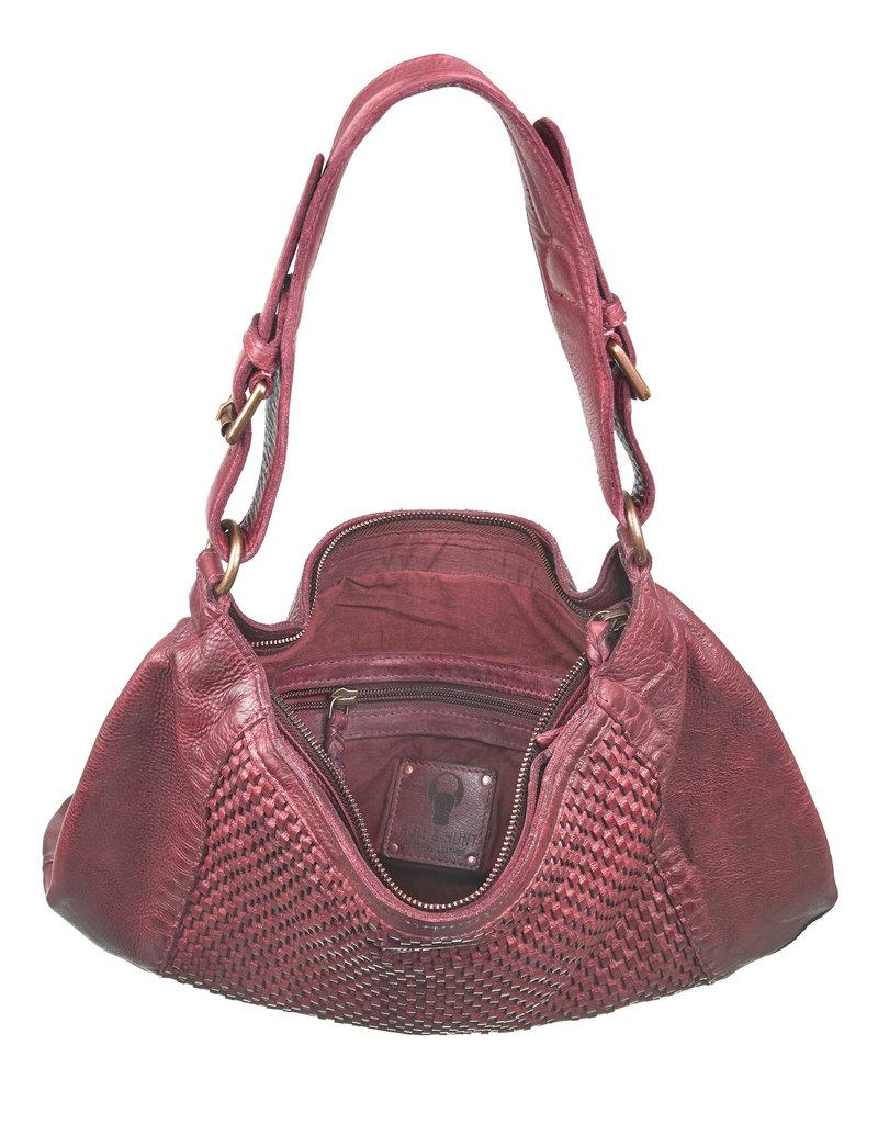 Bull & Hunt Geflochtenes Washed Leather Umhängetasche Hobo Bag Burgundy