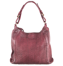 Bull & Hunt Geflochtenes Washed Leather Umhängetasche Hobo Bag Burgundy