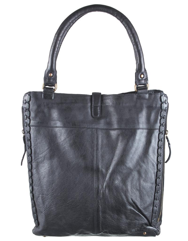 Bull & Hunt Zacht Leren Shopper Schoudertas Washed Leather Zwart