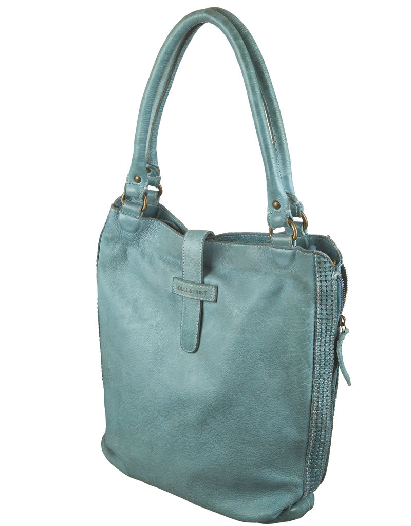 Bull & Hunt Zacht Leren Shopper Schoudertas Washed Leather Lichtblauw