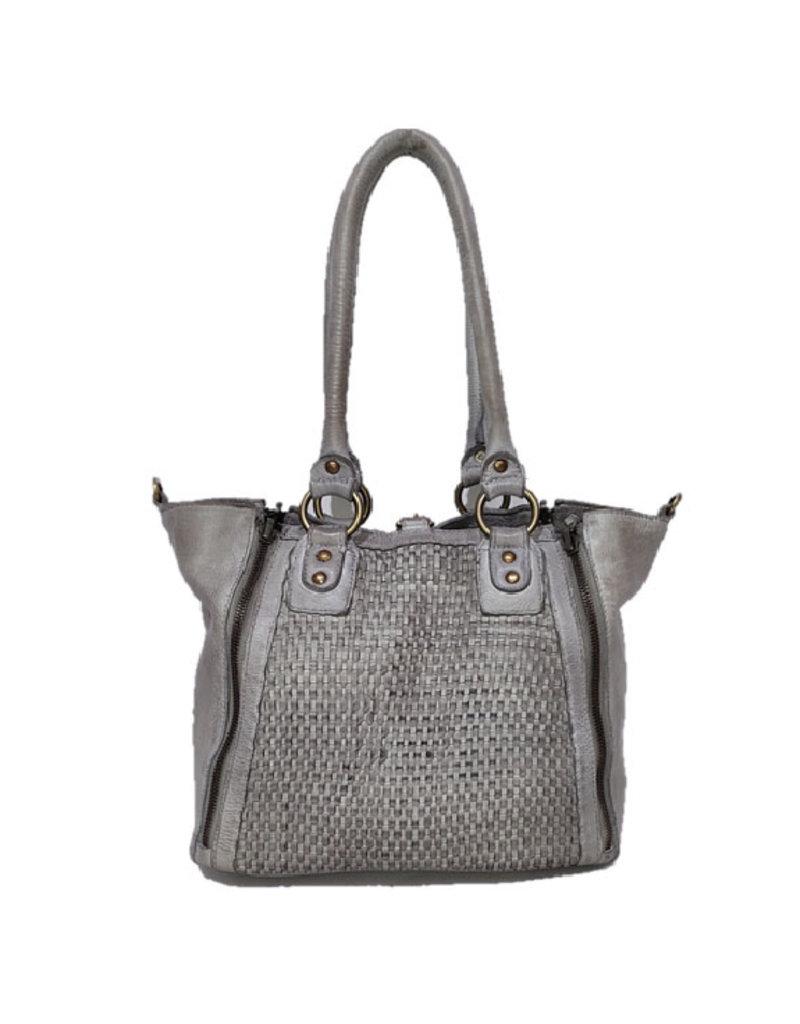 Bull & Hunt Geflochtenes Leder Handtasche Umhängetasche Grau