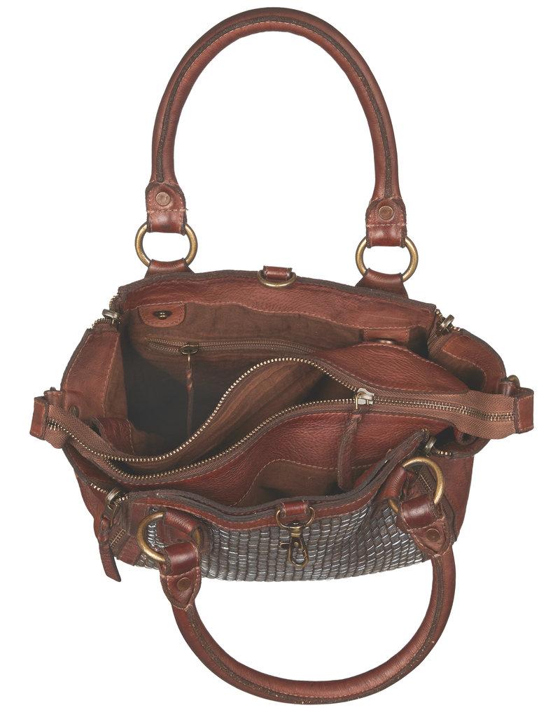 Bull & Hunt Geflochtenes Leder Handtasche Umhängetasche Cognac