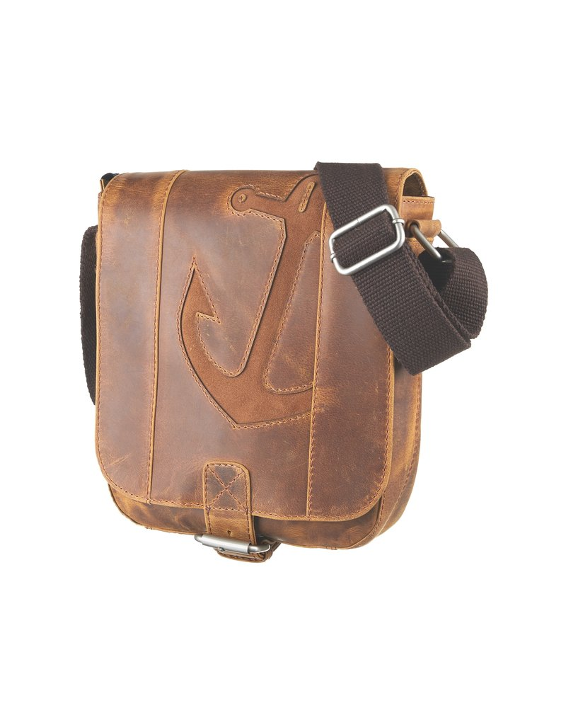 Bull & Hunt Kleine Leder Herrentasche Damentasche Umhängetasche Anker Cognac