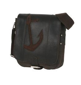 Bull & Hunt Kleine Leder Herrentasche Damentasche Umhängetasche Anker Braun