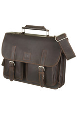 Bull & Hunt Geräumige Leder Arbeitstasche Messeneger Bag Hunter Braun