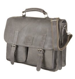 Bull & Hunt Geräumige Leder Arbeitstasche Messeneger Bag Hunter Grau