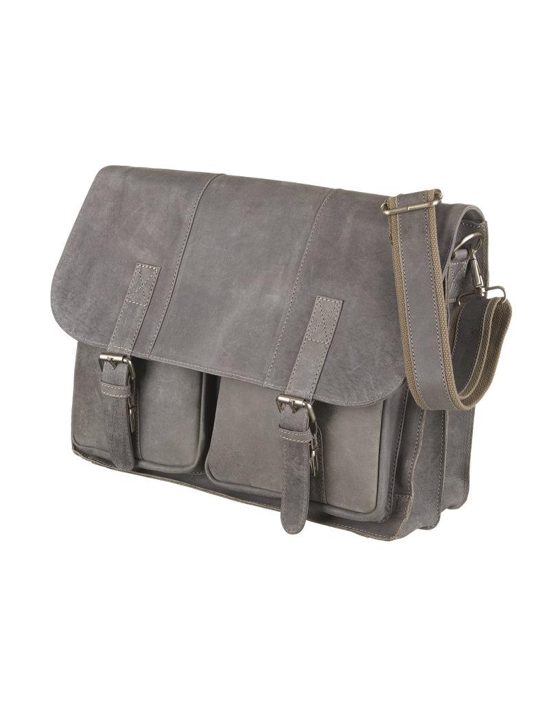 Bull & Hunt Ruime Leren Werktas Messenger Bag Hunter Grijs