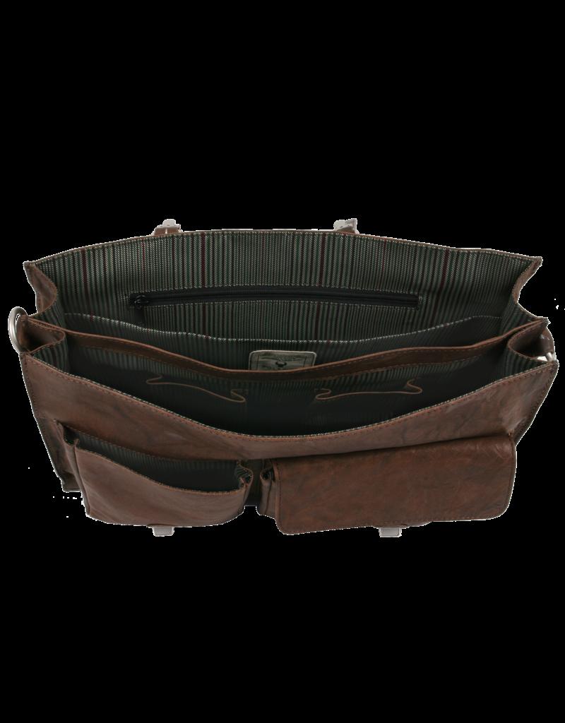Bull & Hunt Ruime Leren Werktas Messenger Bag Vintage Bruin