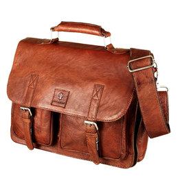 Bull & Hunt Geräumige Leder Arbeitstasche Messeneger Bag Vintage Cognac
