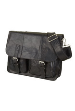 Bull & Hunt Geräumige Leder Arbeitstasche Messeneger Bag Vintage Schwarz